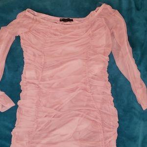 Blush ruched dress